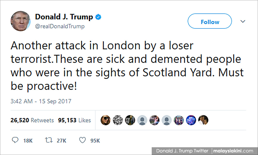 Theresa May complained to Trump after London bombing tweet