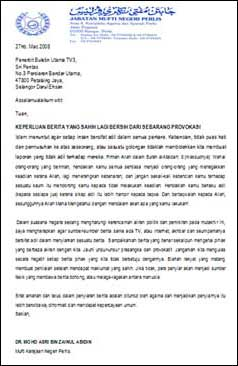 dr asri letter to tv3 030408