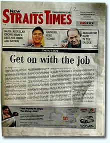 nst headline to govt get on the job 160408