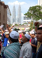 petrol price hike protest kg baru sogo 130608 klcc background 3