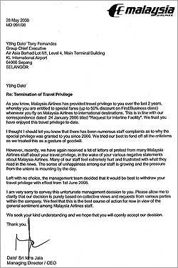 malaysia airlines letter to tony fernandez 160608