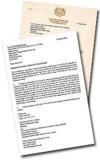 judge ian hc chin letter to chief judge dzaiddin and sabah sarawak chief judge steve lk shim