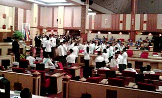 perak state assembly chaos in the assmbly between speakers and state reps 070509 01