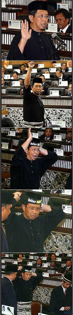 nizar jamaluddin sworn in at parliament opposition mps disolve perak state adun headband incident 150609 sequence