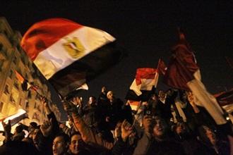 egypt revolution mubarak steps down flag 1