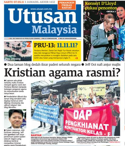 utusan malaysia kritsian agama rasmi